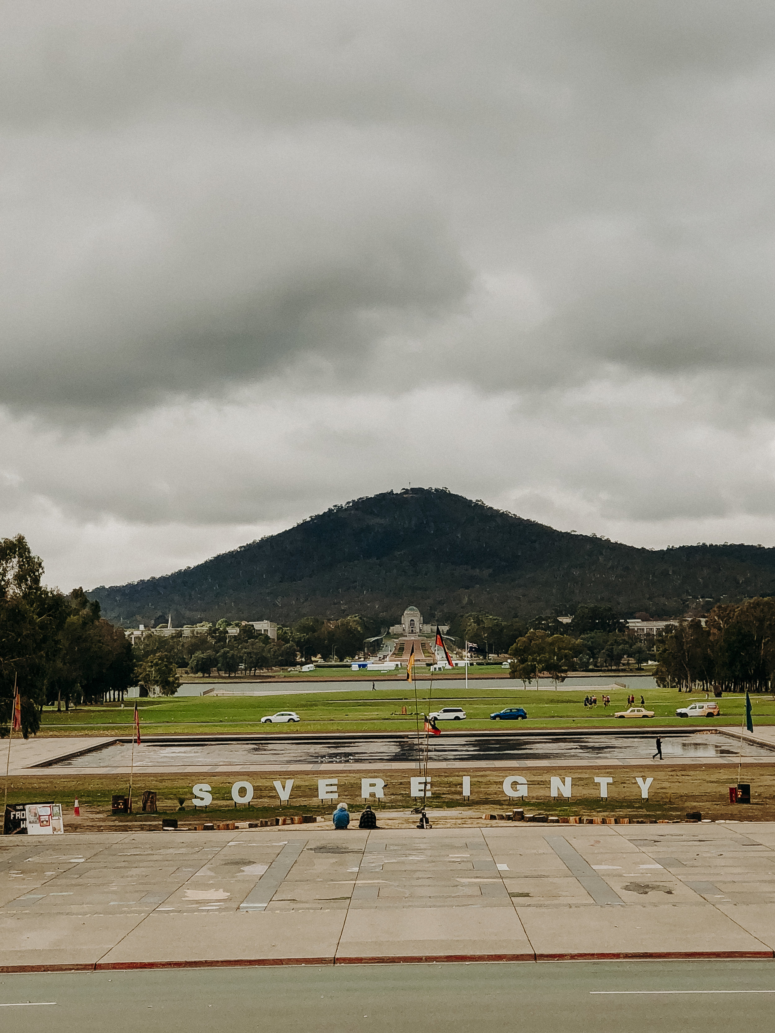 View of the Anzac Parade as seen from the new Parliament House. That is the Australian War Memorial and Mt Ainsley in the distance.