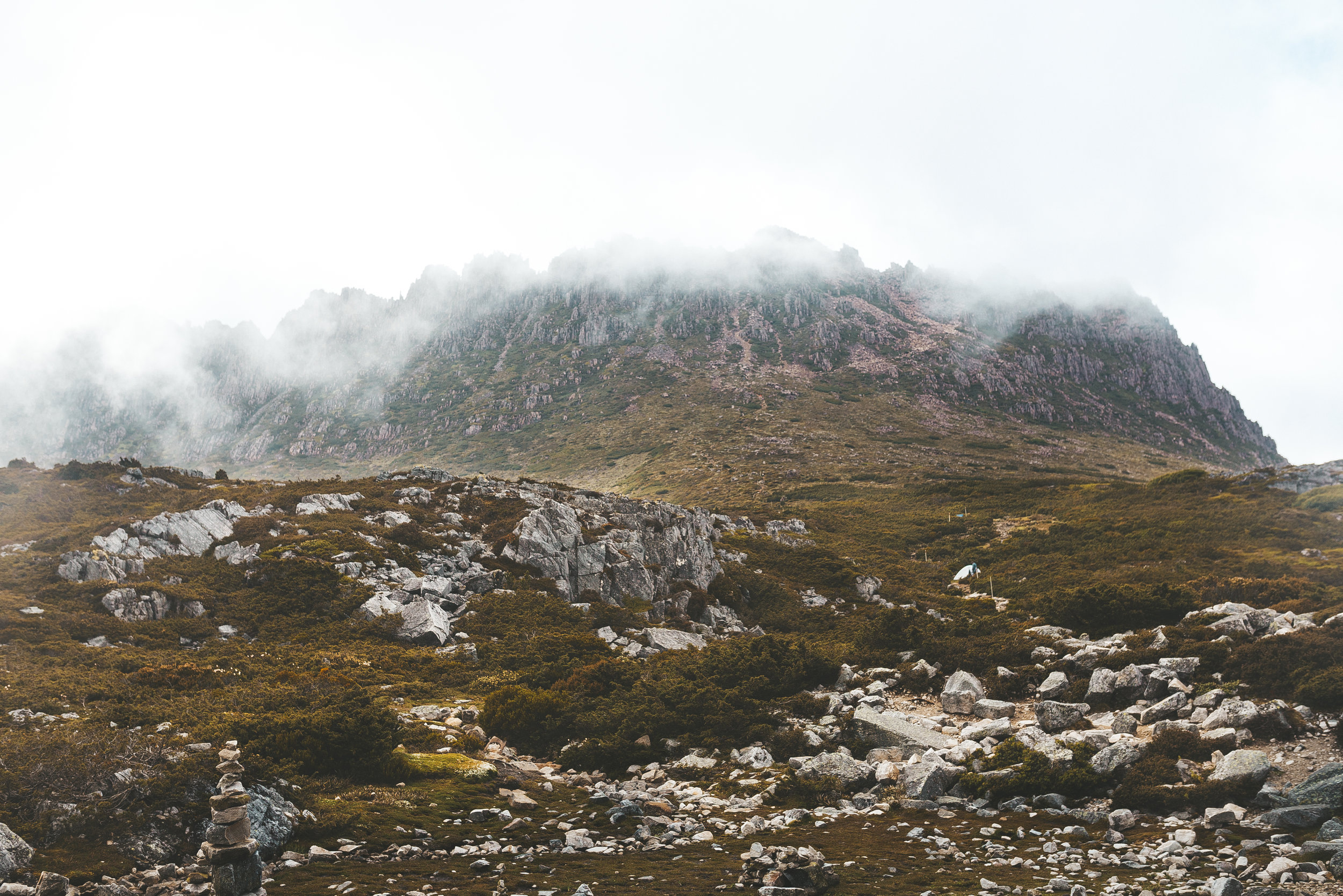 The view of Cradle Mountain from the Kitchen Hut BEFORE the clouds cleared