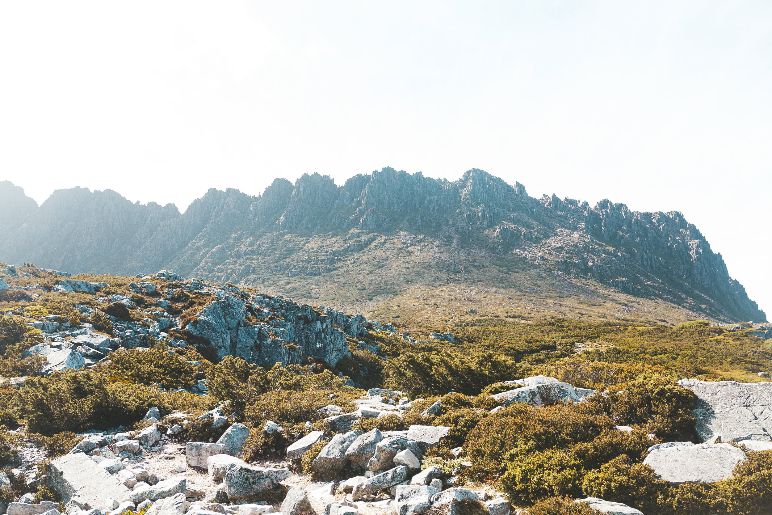 The view of Cradle Mountain from the Kitchen Hut AFTER the clouds cleared, just a few minutes later
