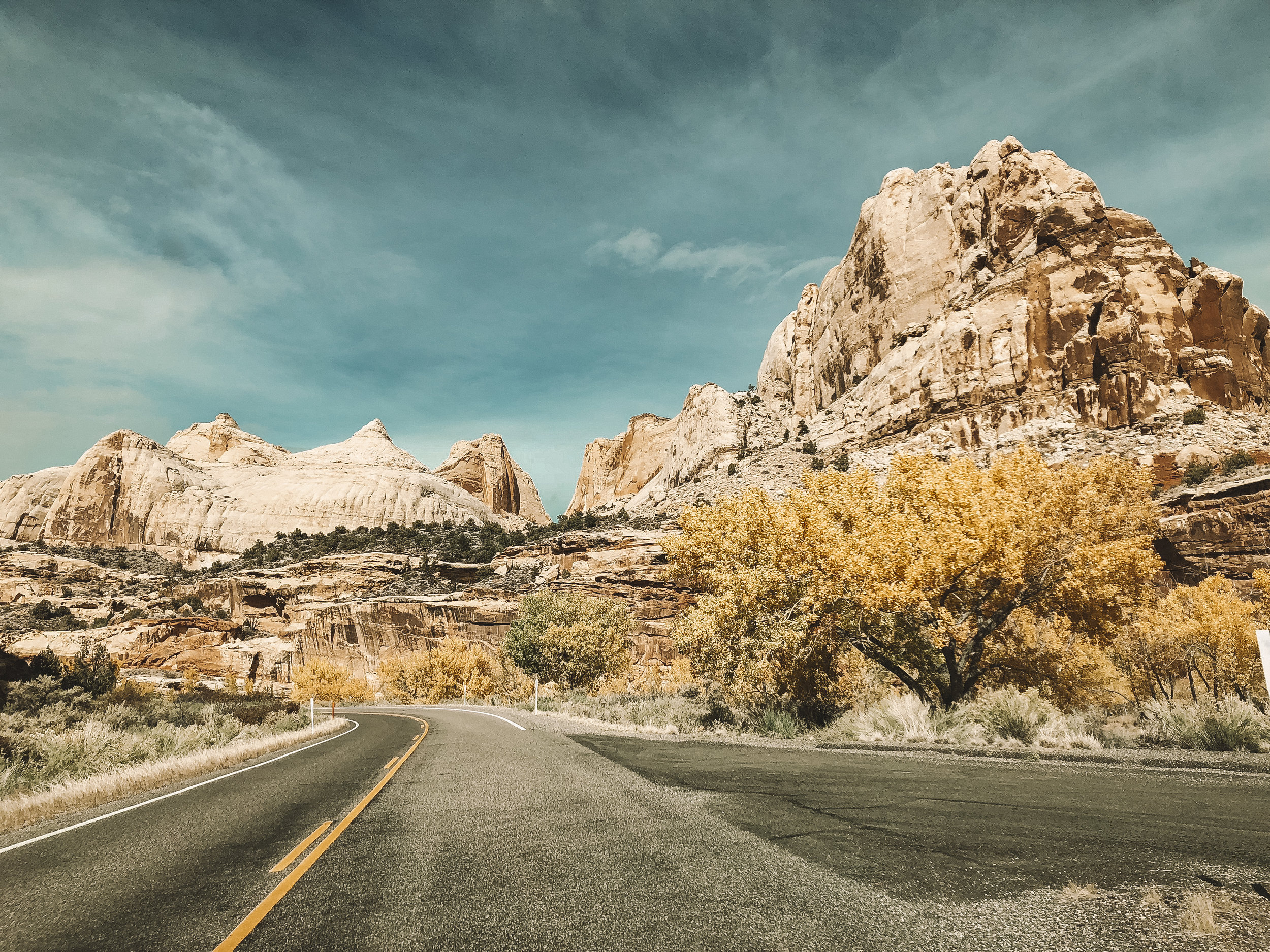 Driving through the Fruita area in Capitol Reef