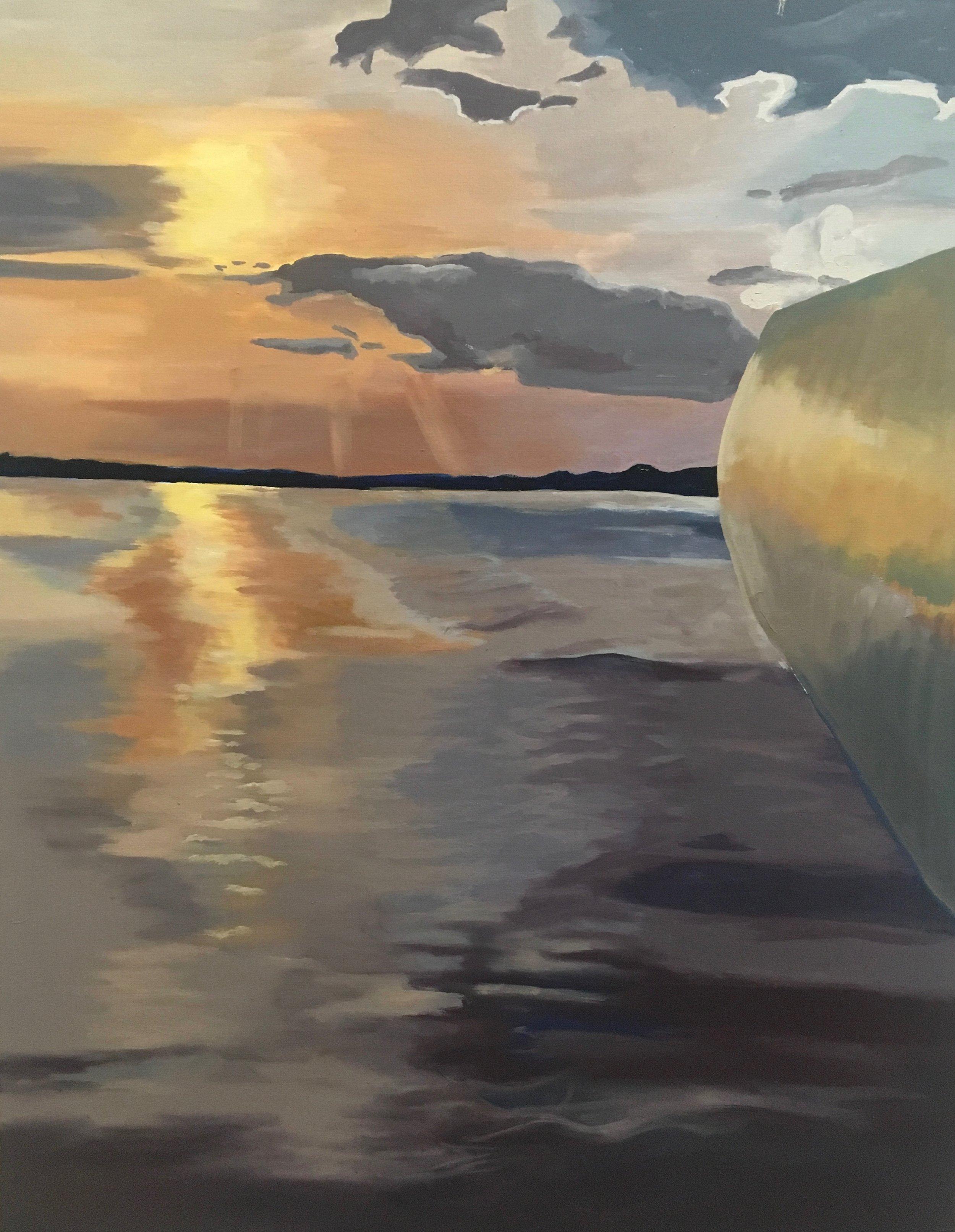 """Folly Sunset  28""""x 36""""  oil on canvas  $500"""