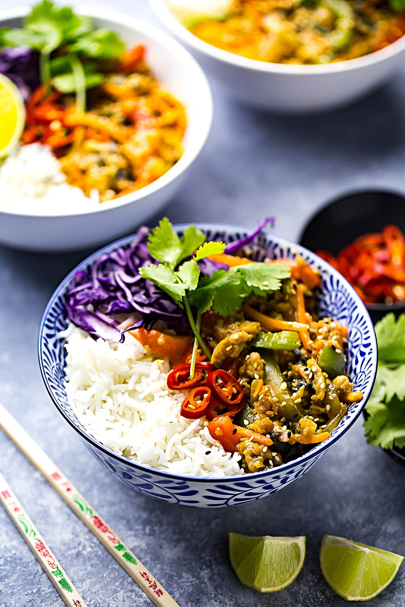 Thai Basil Chicken Bowls with Coconut Rice