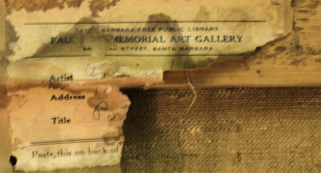 """Photo of Antonia Greene ID exhibition sticker from Faulkner Gallery, 1930's. The pencilled """"Antonia"""" is what's left from her self portrait (shown above) after restoration this year. This the reverse side of that painting."""