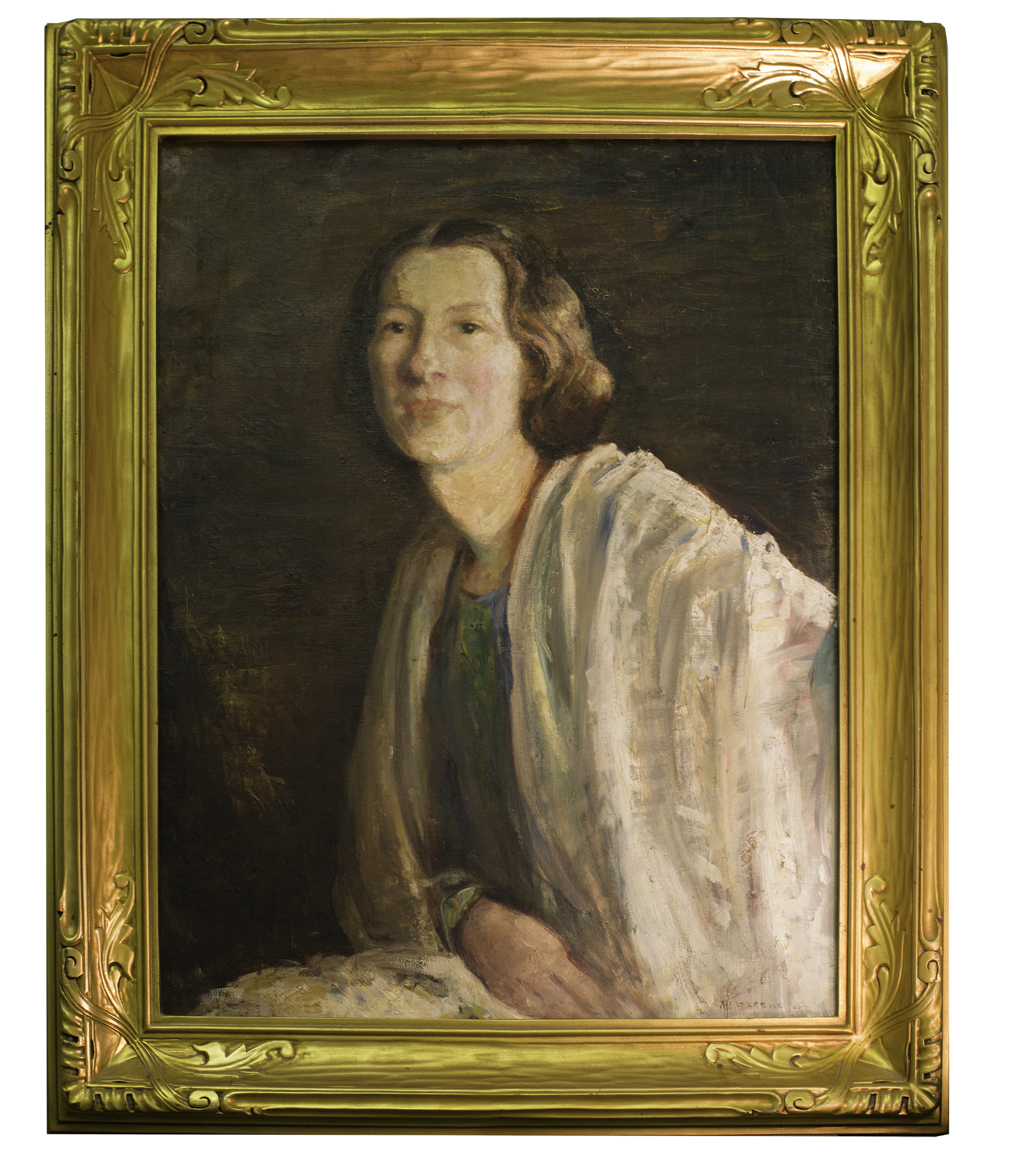 Lovely sitter is unknown. But portrait of her is likely an Antonia Greene opus magnum. Large painting (30x26) shows a formal pose that conveys social self-confidence, eyes that speak outward curiosity,   hair arranged for the   occasion. Yet wrapped around her and in her lap is this sheer fabric, likely long silk chiffon shawl.  Right hand interested in feel of fabric or act of protectionism.The art of representing the silk chiffon, the gauzy vertical and horizontal strokes, suggests technical expertise and creative moment. This is not a one-dimensional coverlady portrait for the living room centerpiece.