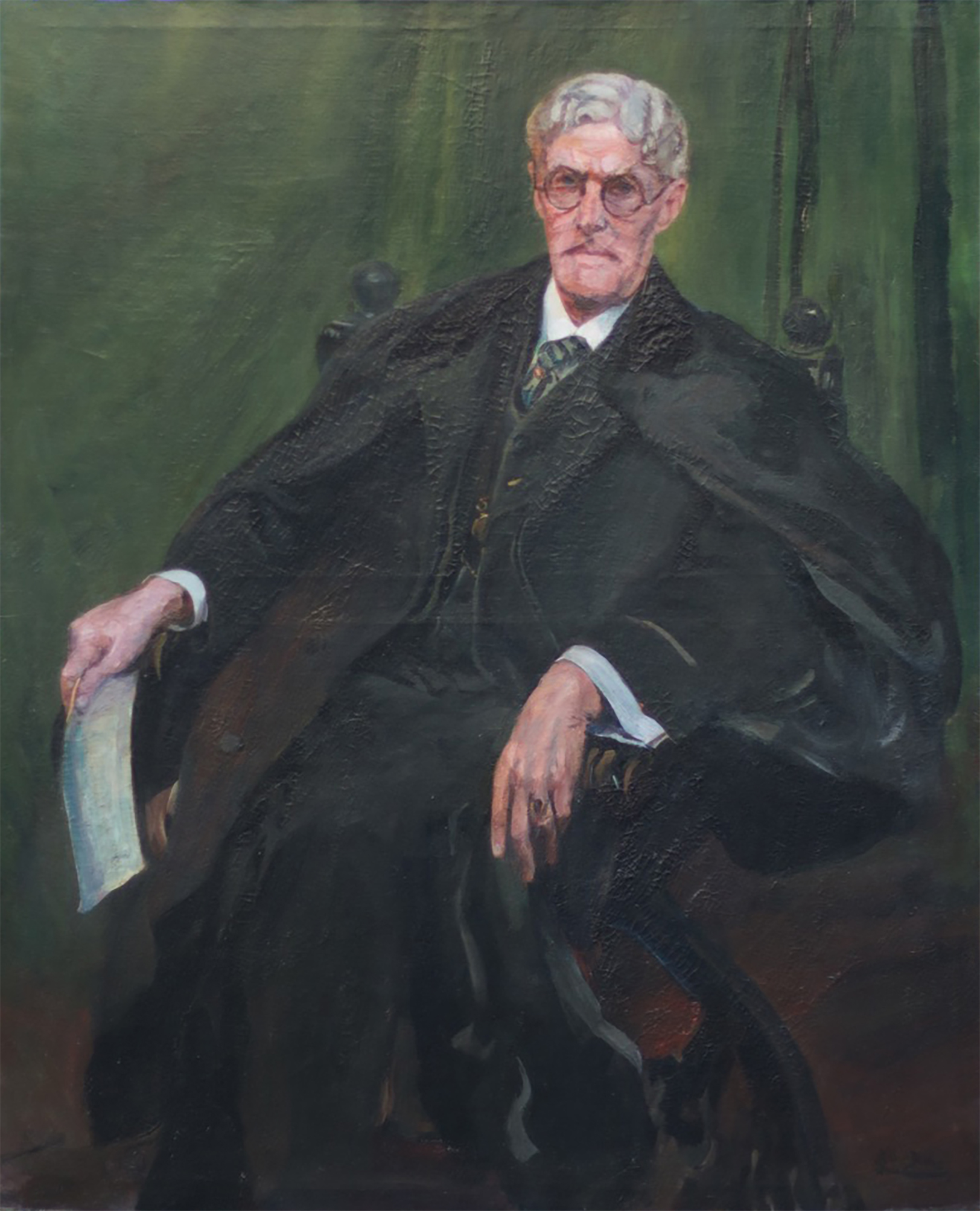 This is Judge Weeks, from Laguna, painted in 1930 by Karl Jens, who also was his friend. 60x50. An important portrait.