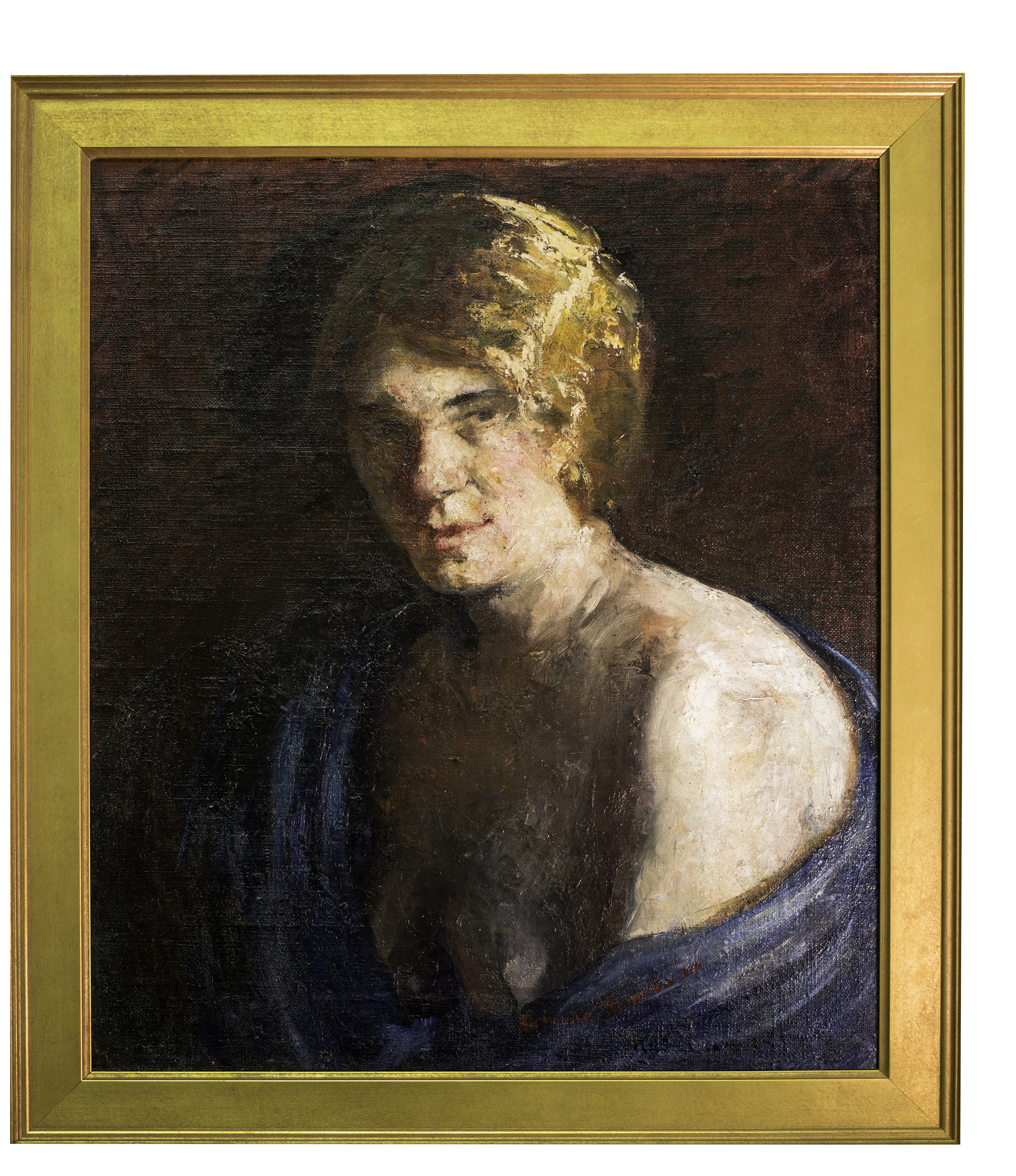Antonia Greene self-portrait, 1929. She signed this painting twice. Once as artist, proof of authorship. Again, in red on the blue shawl wrap, as a title: THIS IS ME.