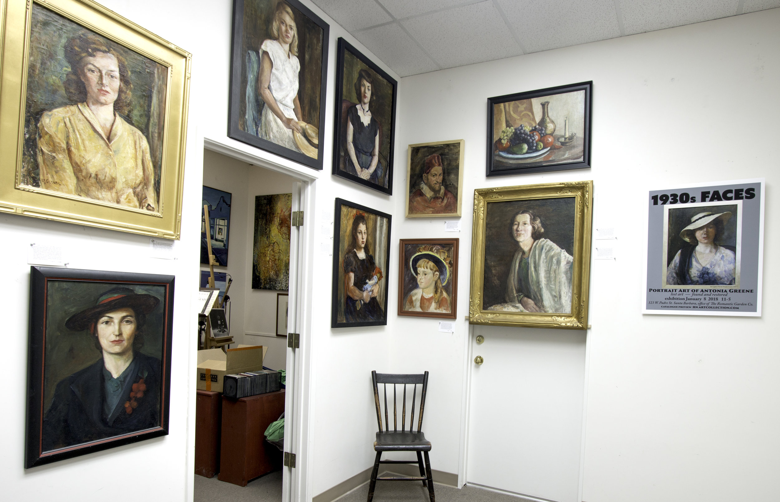 EXHIBIT BEFORE EXHIBIT — Empty chair is symbol of Antonia Greene's art inviting consumers.