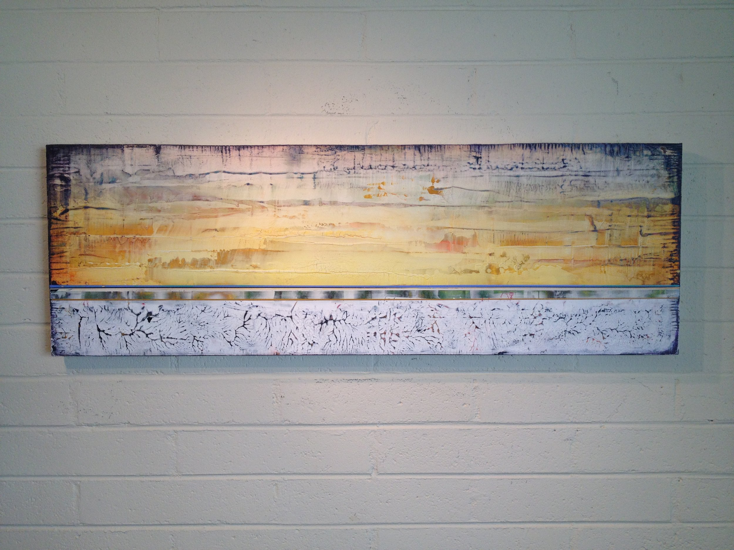 """""""ABIQUIU SUNRISE"""", 2014, 18""""x 36"""", on wood. In private collection"""