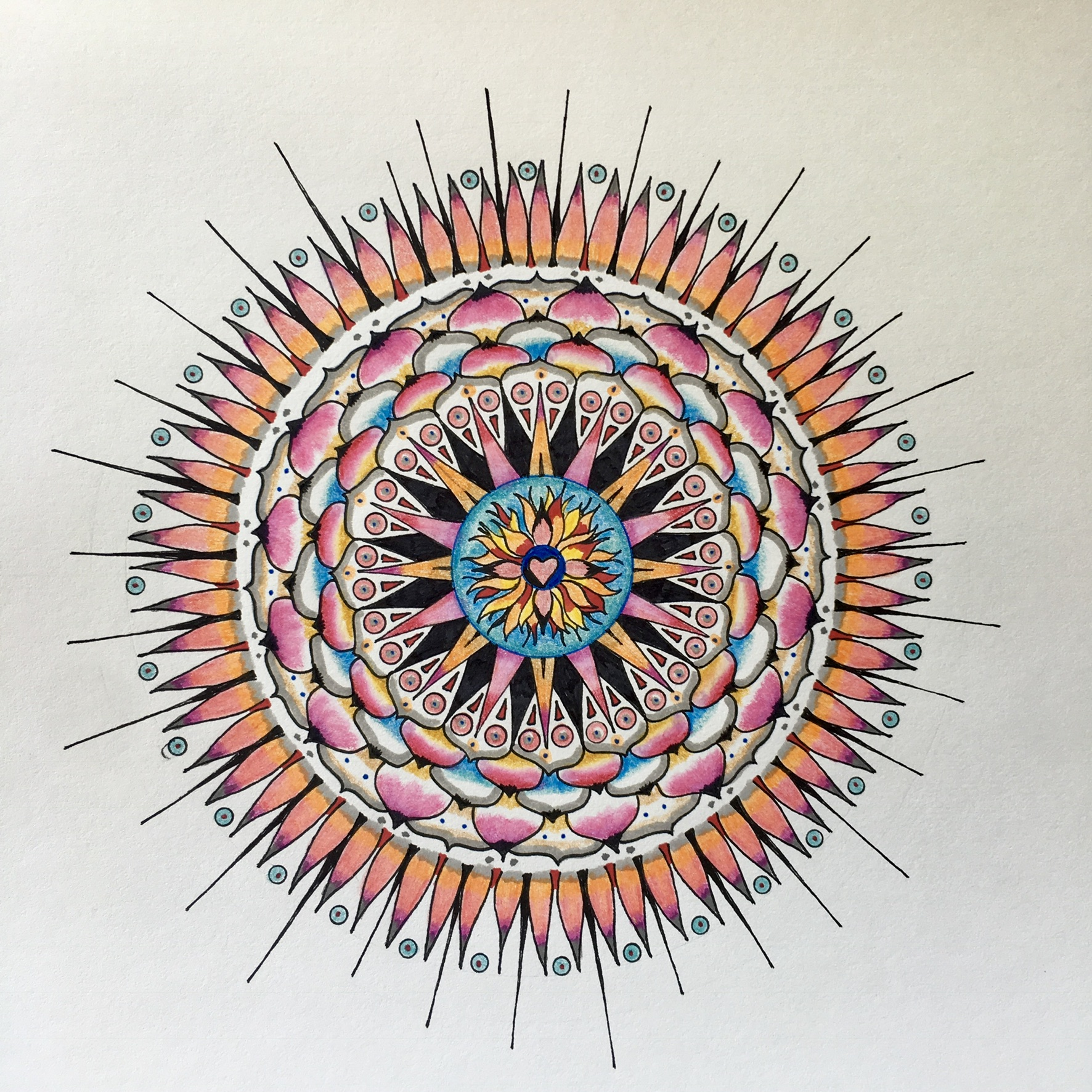 Mandala, 2018, ink and watercolor, in collection