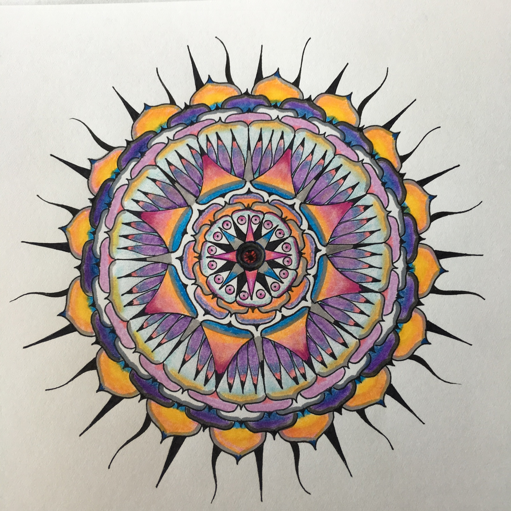 Mandala, 2018, ink and watercolor, in private collection