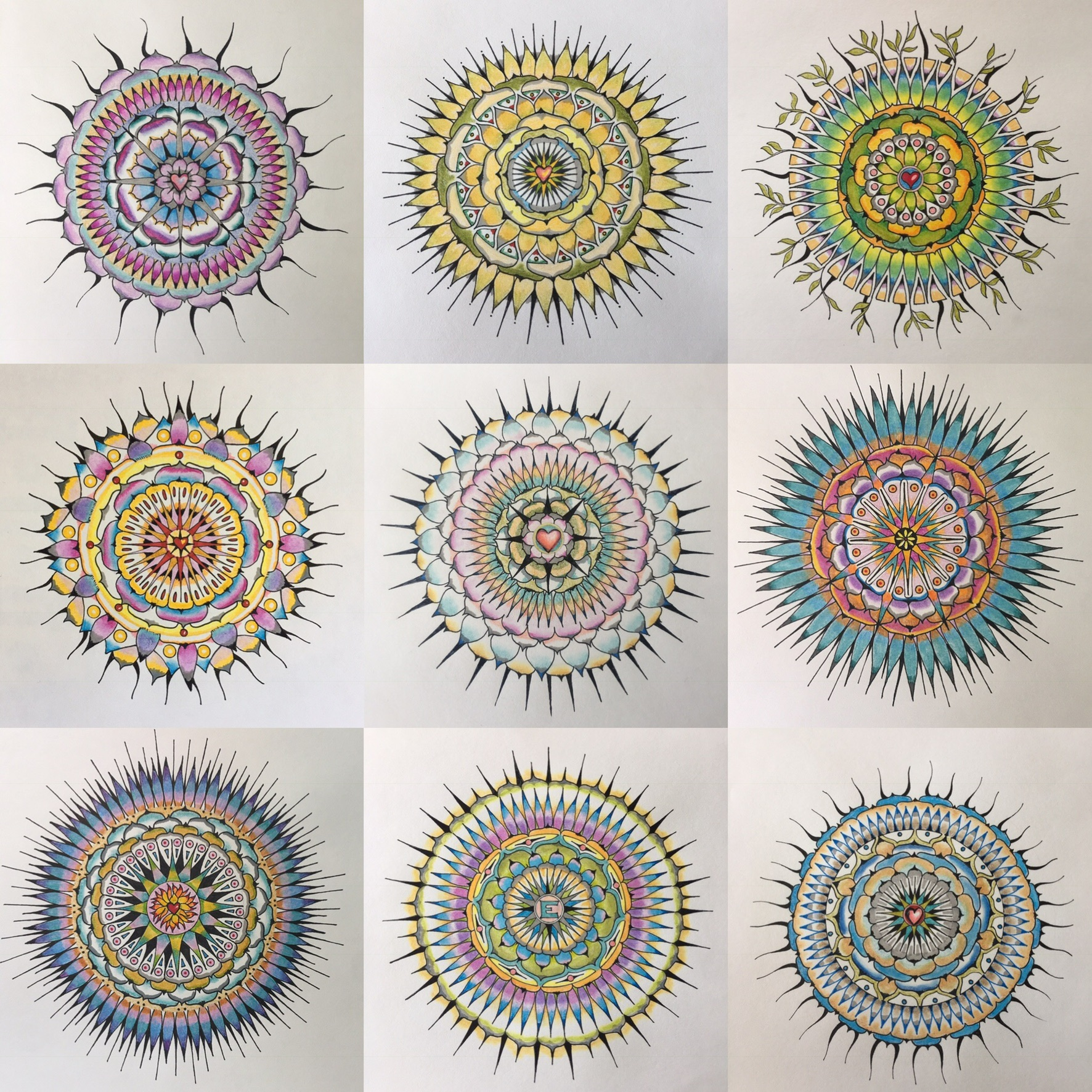 Misc. mandalas, 2018, ink and watercolor on paper, all in private collections