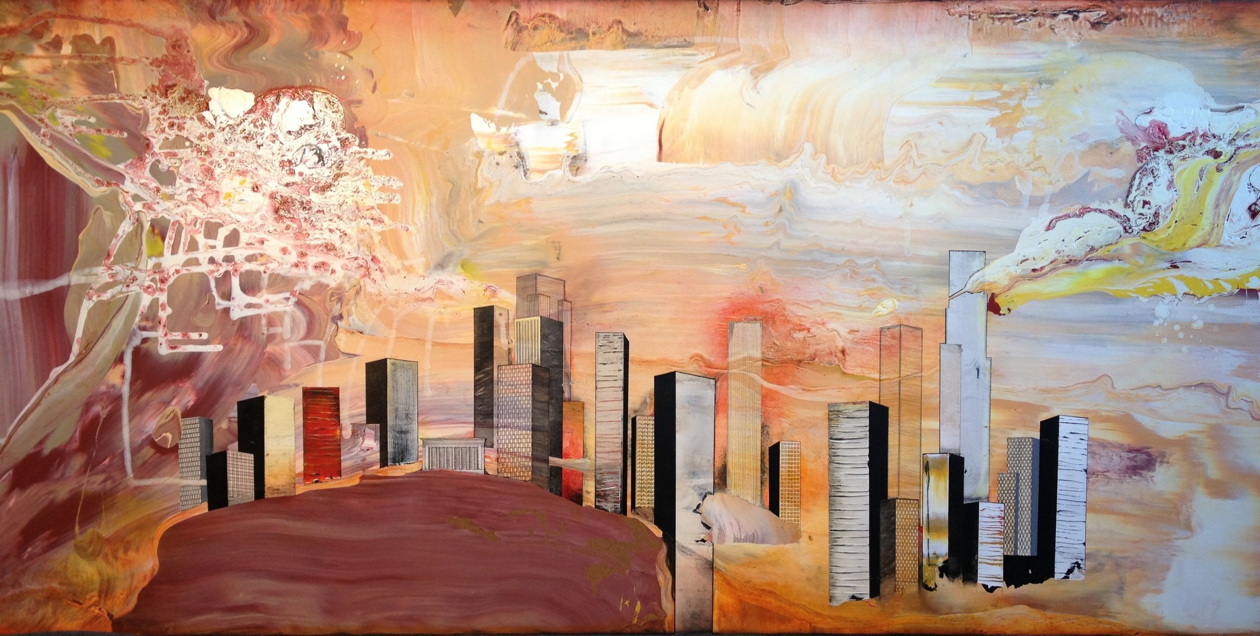 """""""Devils Playground"""", 2013, 36x72, acrylic on wood. Available"""