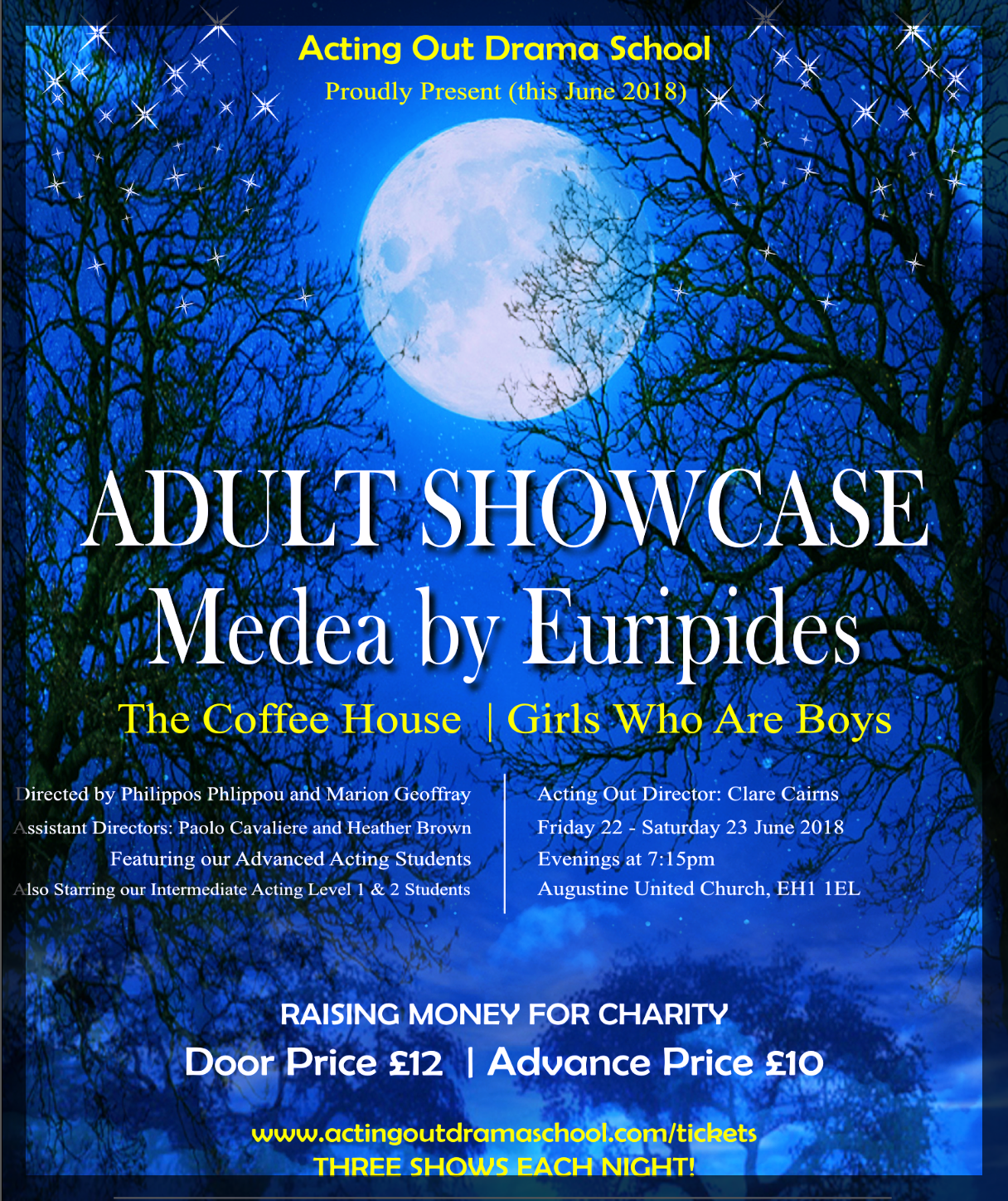 Flyer for June 2018 Show with Acting Out Drama Students