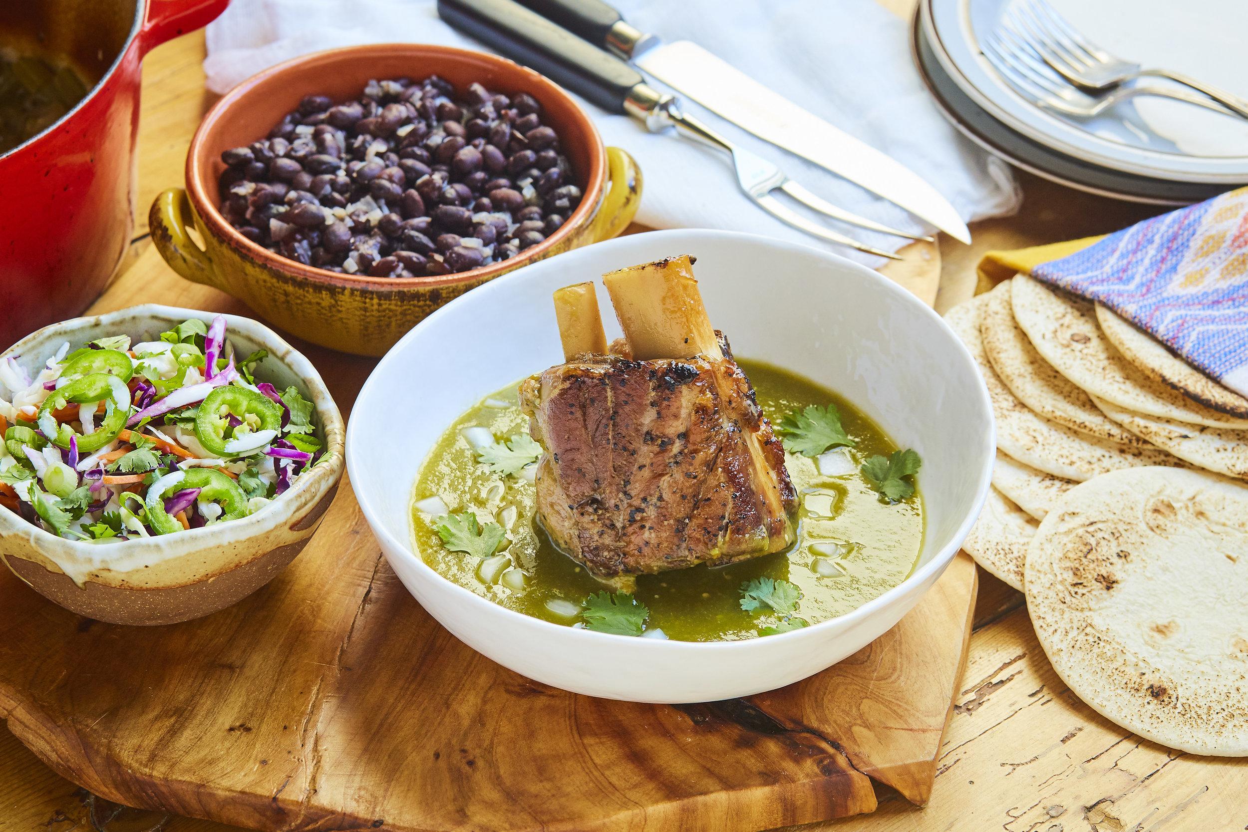 Pork Shank in Green Chile Sauce w_ Cabbage-Jalapeno Slaw and Black Beans, Sammy Hagar.jpg