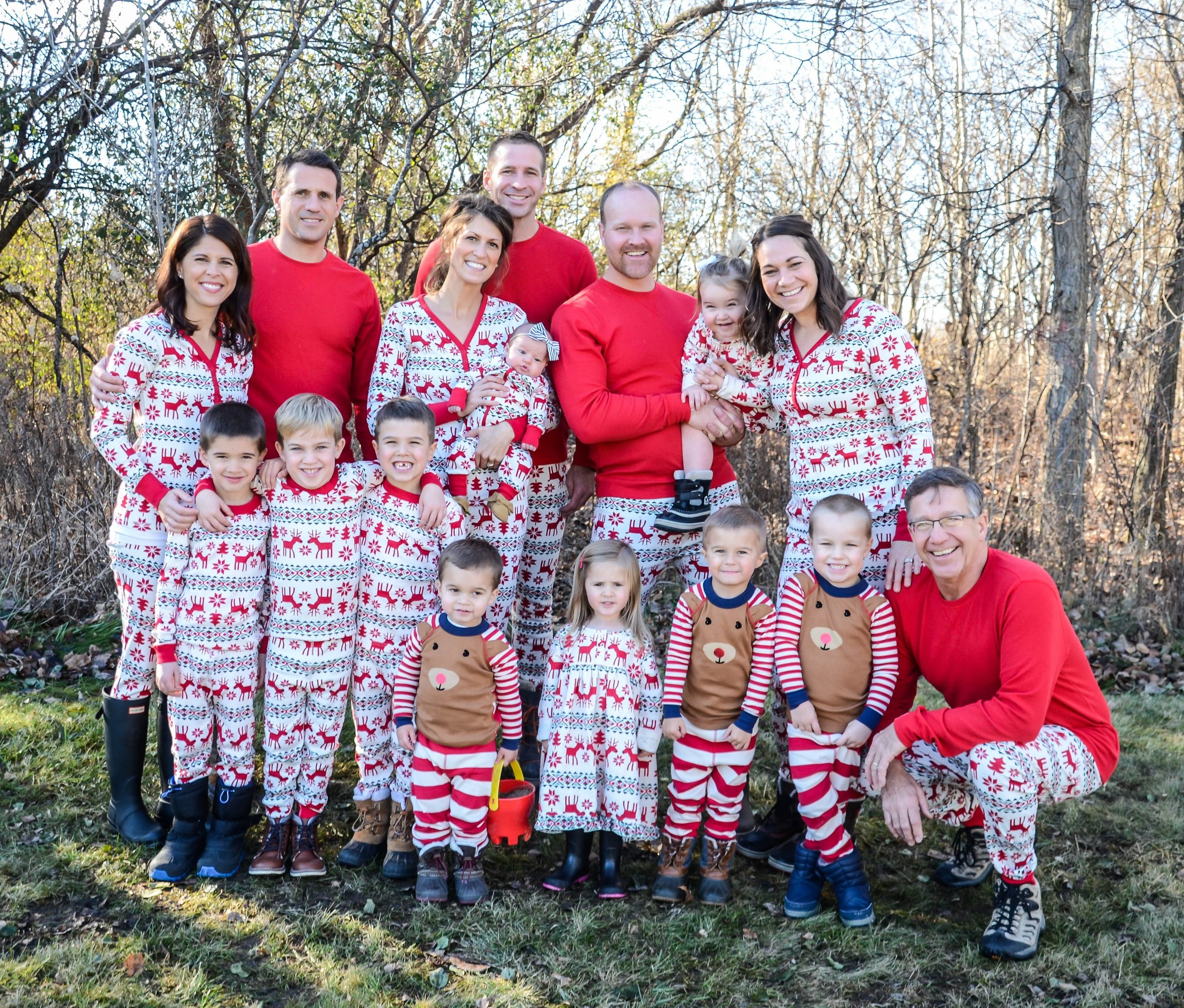 The whole family honoring Pam with Christmas pajamas the Christmas after she passed away.
