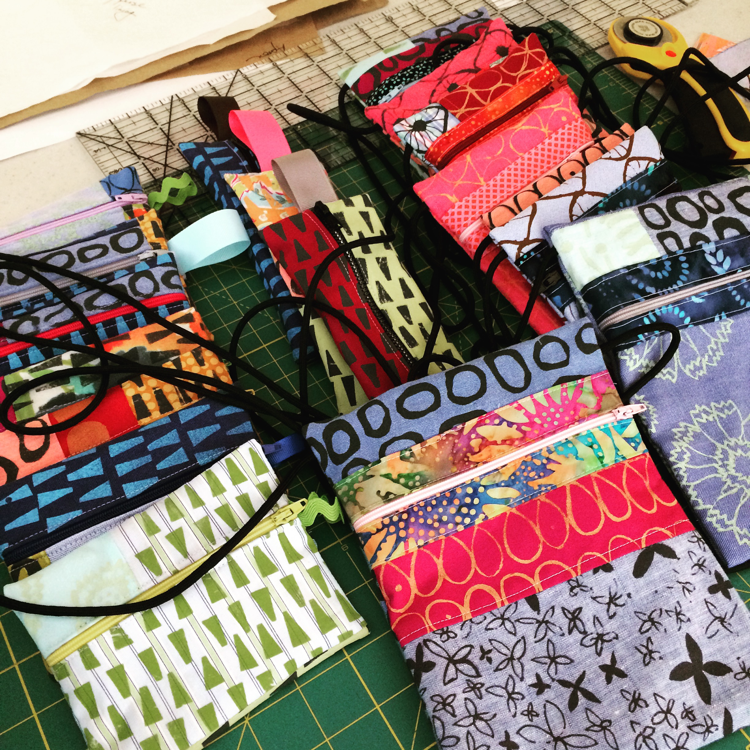 Hand printed and sewn bags of various sizes for various uses.