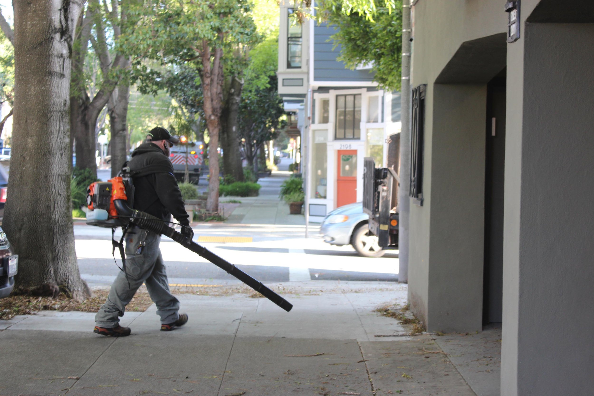 San Francisco's Duboce Triangle neighborhood is known for the street trees - the trees can create quite a mess so we volunteer a few minutes every week to cleaning the sidewalk in advance of the street sweeper