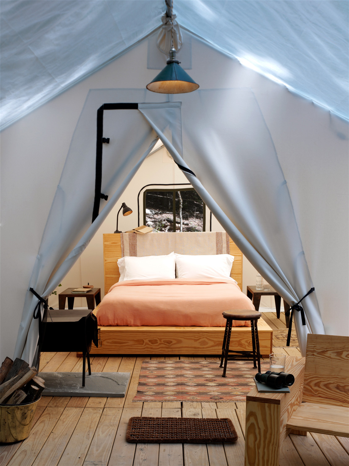 Tent interior at Here Here  (Photo by Victor Schrager)