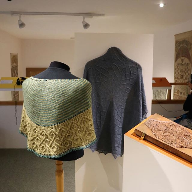 Last night I visited Groam House Museum in Rosemarkie (just north of Inverness). I first visited this museum in 2014, when researching for my first book Celtic Cable Shawls. I'm delighted to be featured in their summer exhibition, Crafting the Celtic, which features my work alongside that of artisr Thomas Keyes and wood carver Anneliese Peebles Gonzalez. The exhibition is on all summer and free to visit. Groam House Museum is the home of a collection of work by George Bain, the father of modern Celtic art and a huge inspiration to my work.