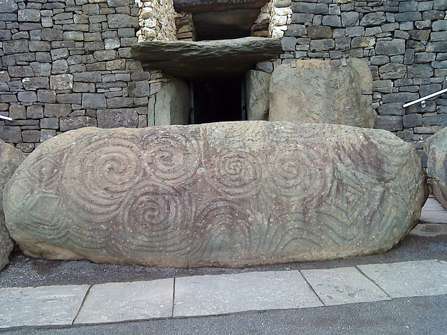 Decorated kerbstone at Newgrange, Ireland