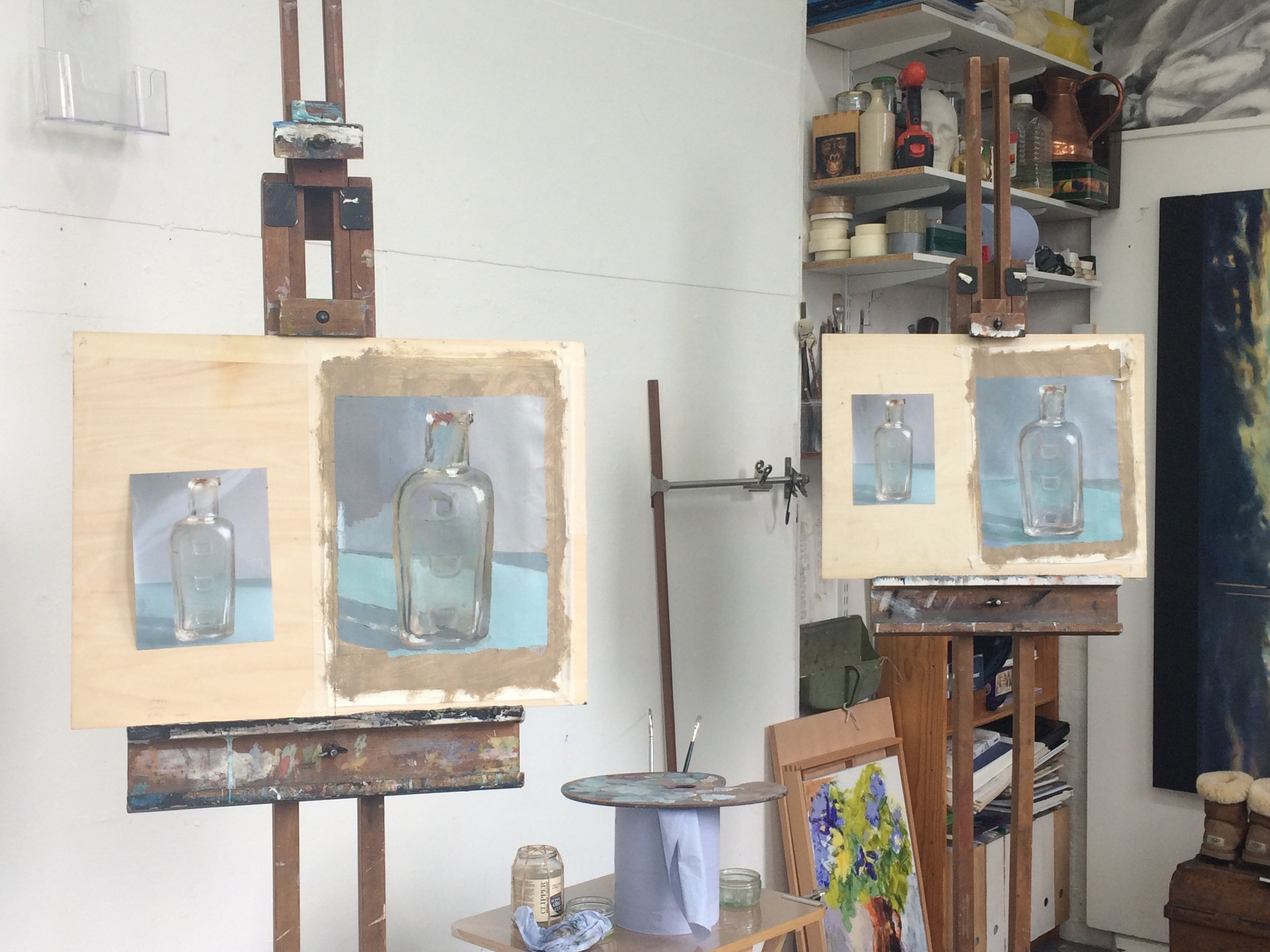 Students work in an oil painting class