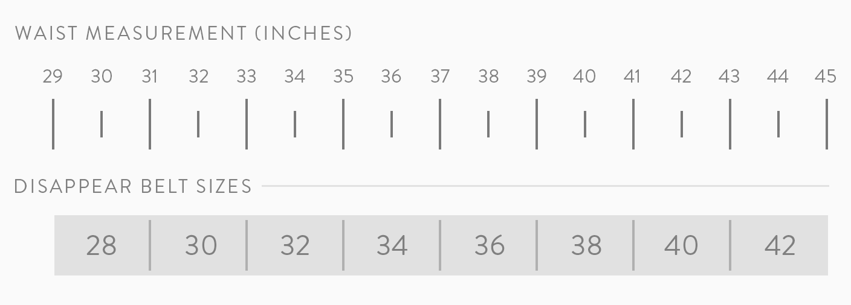 disappear belt size chart
