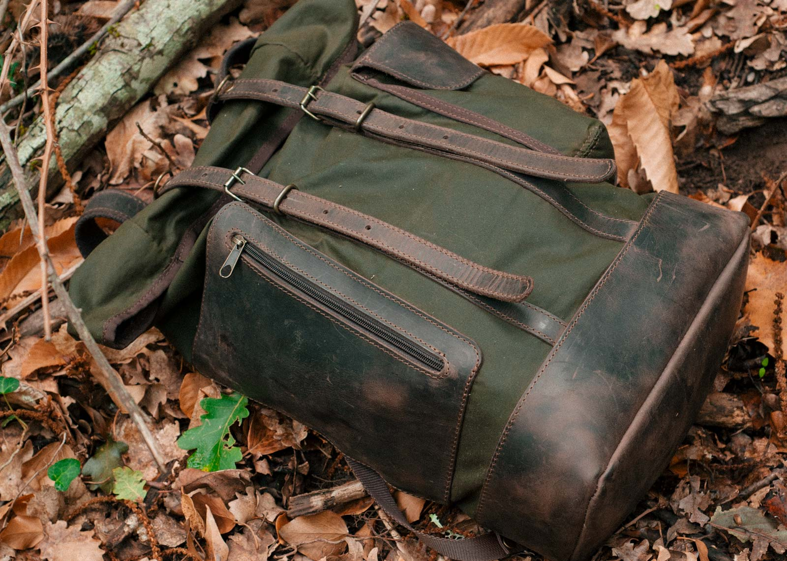 Wilderness Backpack Green in The Woods