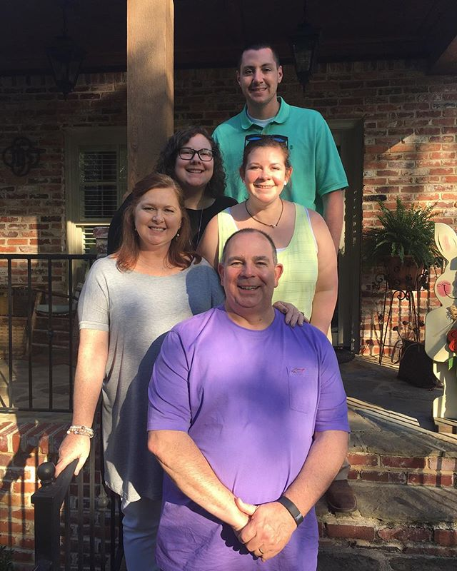 """To get to know our new Lead Pastor, here's a Bio from """"Brother"""" John Verciglio:  My wife Lisa (bottom left) and I got married 34 years ago on Sept. 7, 1984.  We have two daughters, Catherine (right) and Emily (left), and a son-in-law, Taylor (top). He and Emily have been married for 6 years.  I'm a grad of Birmingham Southern College with a BA in Accounting, got my Mdiv from Emory University, and did some more post-grad work at Wesley Theological Seminary in Washington D.C.  I'm entering my 26th year of ministry in the North Alabama Conference after leaving my earlier career as a cost accountant.  I'm passionate about teaching, preaching, and leading others to Jesus Christ.  I enjoy supporting the Auburn Tigers, playing golf, exercising, and camping with my bride, Lisa (She's the expert!). We are excited for the chance to serve here with you all at Hueytown First!  #newpastor #hueytownumc #thrivehueytown #thrive #hueytown"""