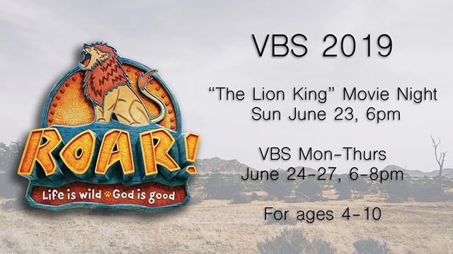 "VBS is almost here and you're invited!  Come join us, kicking off Sunday June 23 with a ""The Lion King"" movie night and then VBS programming Monday through Thursday.  We hope to see you there!  #vbs #hueytown #hueytownumc #roarvbs"