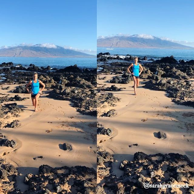 Maui Beach Workout!👇🏻 #freshfitnhealthy style🌊🏝 (plus dog coming in and just hanging behind me during squat pulses {see 2nd slide} 🤣) . Interrupting my flow of wedding photos for a workout ☀️ I did in Maui 🌊before our wedding! 🙏🏻Remember that moving your body should be fun and something you do because of how great it makes ya feel! ❤️ Not because of how much you hate your body.🙅🏼‍♀️ When you can shift the way you see living a #freshfitnhealthy life, it becomes just that, a lifestyle! . ☀️First slide: one of my favorite lunge exercises! Front lunge + backwards lunge in same leg before switching to other leg! Then repeat for the number of total reps you want to do. (I typically do 10-12 each leg!) . ☀️Second slide: all movements in this beach exercise! I cut the video to make it short, but did 20 reps of each in real time, with 3 sets total 💪🏻 •front/backwards lunge •jump squats •incline diamond push ups •jump lunges •mountain climbers •planking shoulder taps •squats •squat pulses (with pup just hanging out behind 🤣) . ☀️3rd slide: best way to cool down! Jump in the Pacific Ocean! Just kidding, make sure you stretch too 😉 . What's your favorite at home/travel workout to do?! Do you like finding a gym or do you like doing body weight exercises outdoors?! #freshfitnhealthy