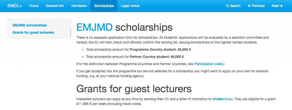 EMCL scholarship amounts erasmus mundus