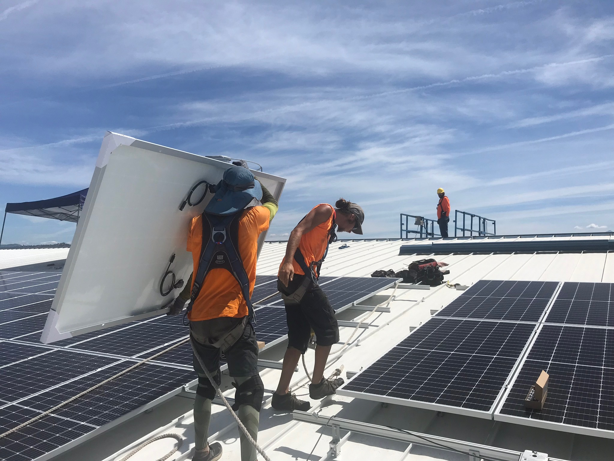 A New Day Solar installer secures a microinverter to racking.