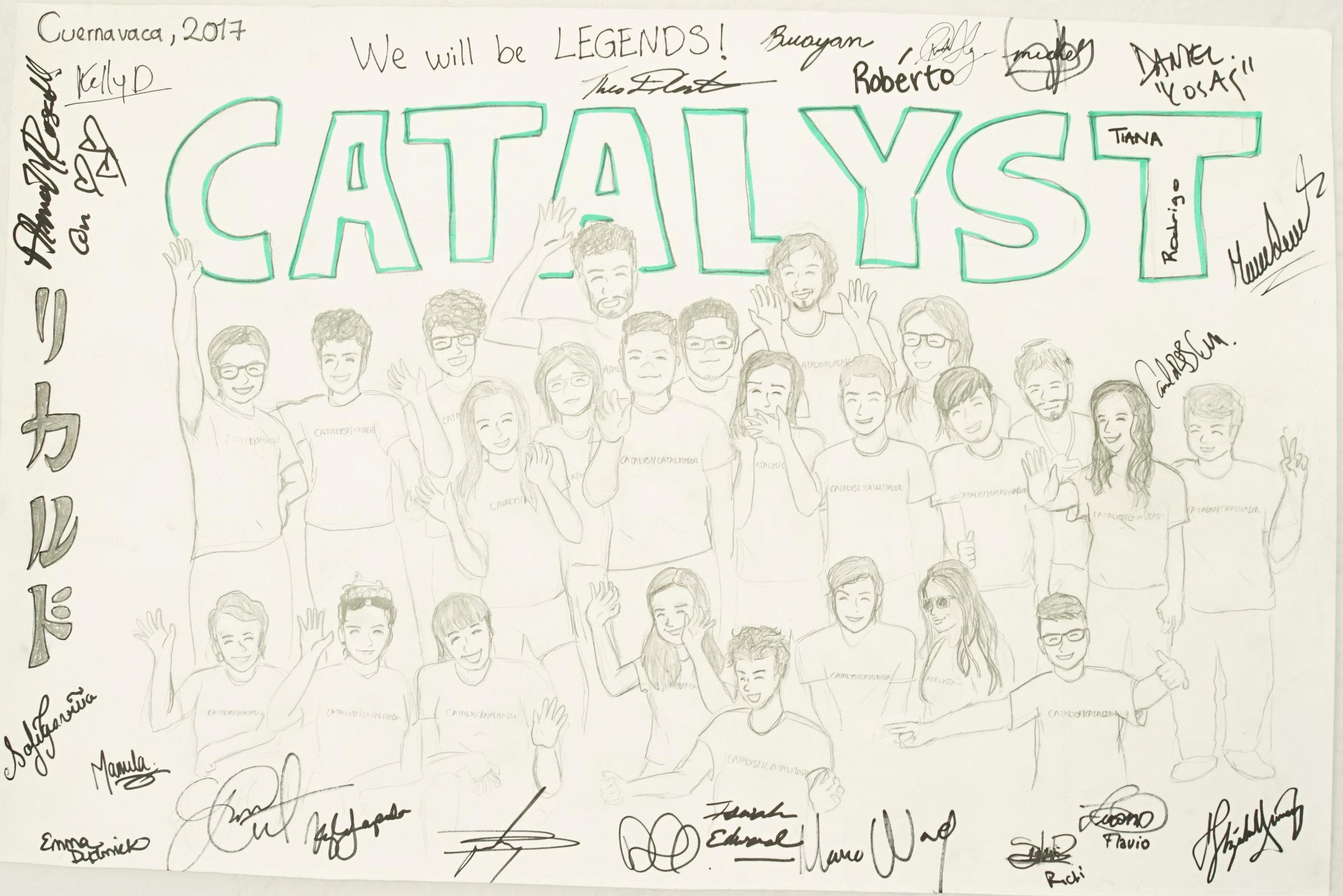 Catalyst 2017 cohort. Drawing: Ricardo Salazar Ordoñez; Puerto del Carmen, Ecuador