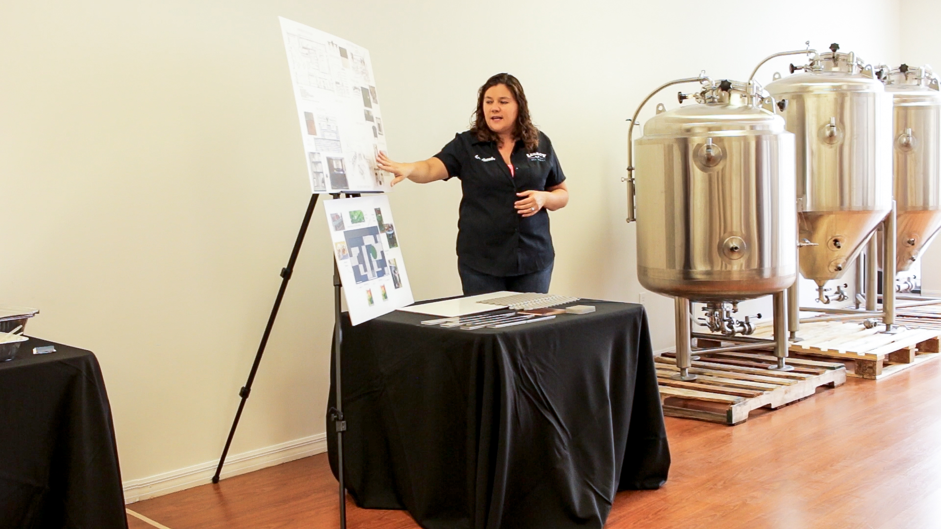 Owner Liz Jacobs discussing the plans for the upcoming Brewery & Taproom