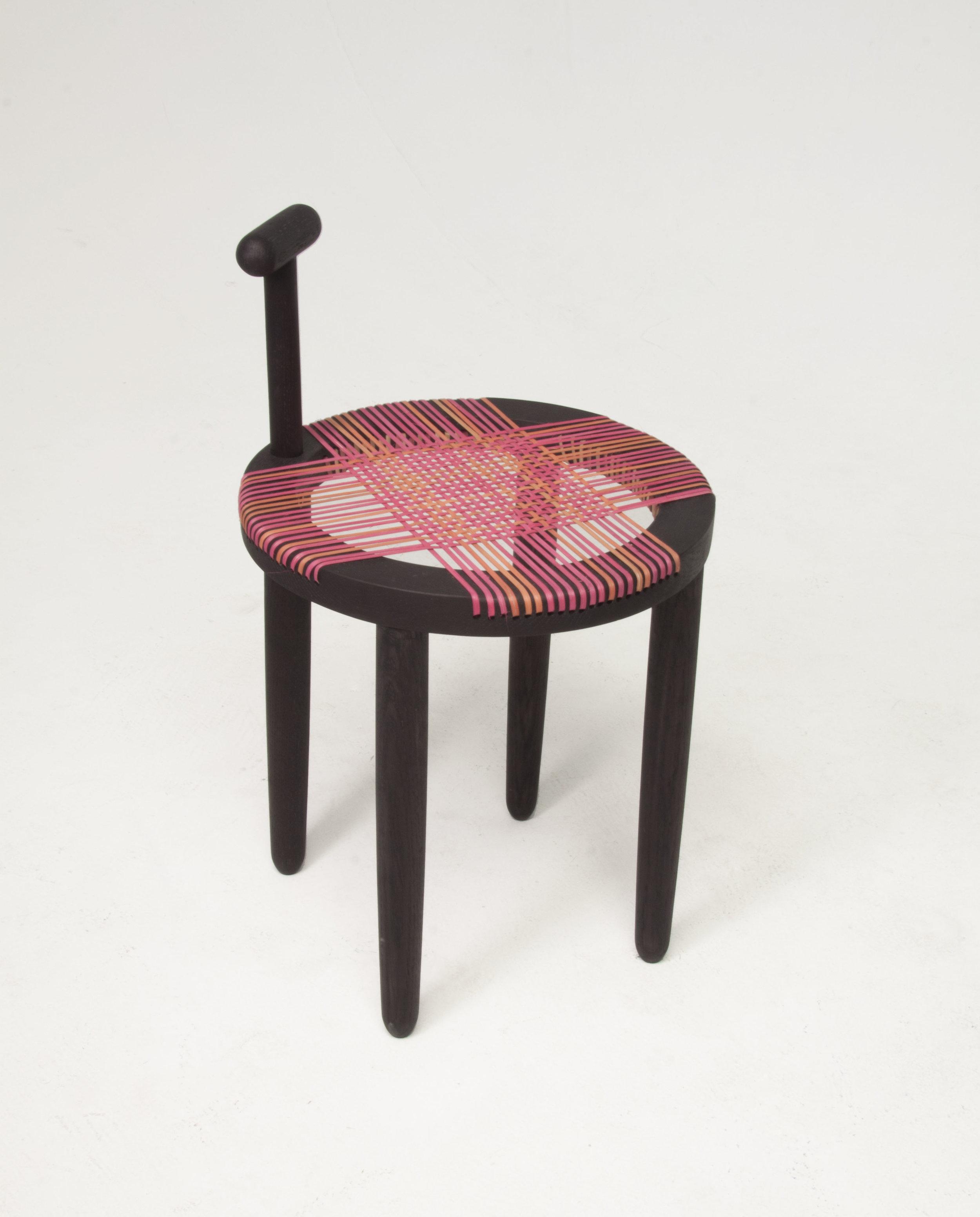 """boot black stool. blackened oak, hand dyed cane. 17"""" x 16"""", 2017"""