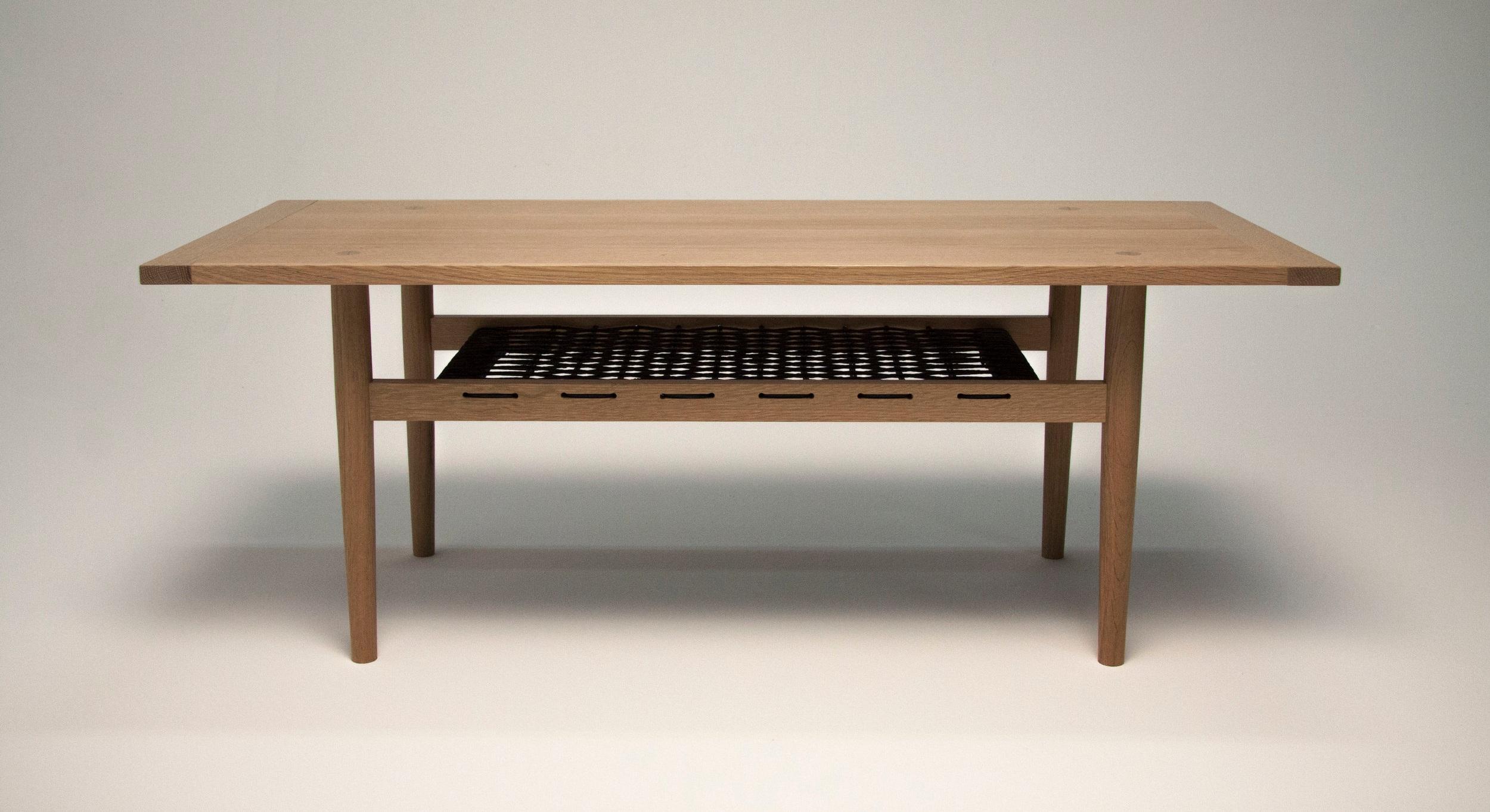 "grete coffee table. white oak, danish cord, 46"" x 20"" x 17"", 2016"
