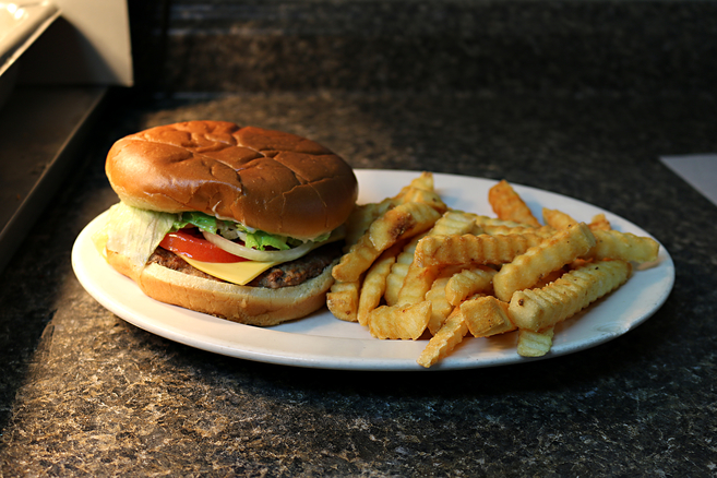 1/4 lb. Large Cheeseburger & French Fries