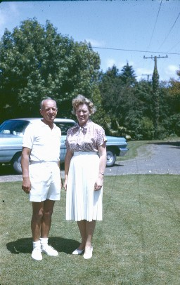Colin & Dot - note the 1962 Pontiac Parisienne hardtop in the background - a thing of sheer beauty