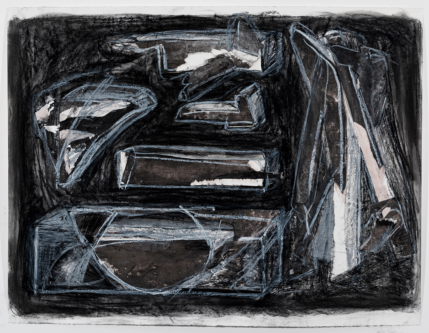 """Bigger, Better Tools   Monotype, charcoal and pastel on paper 38"""" x 50"""" 2016"""