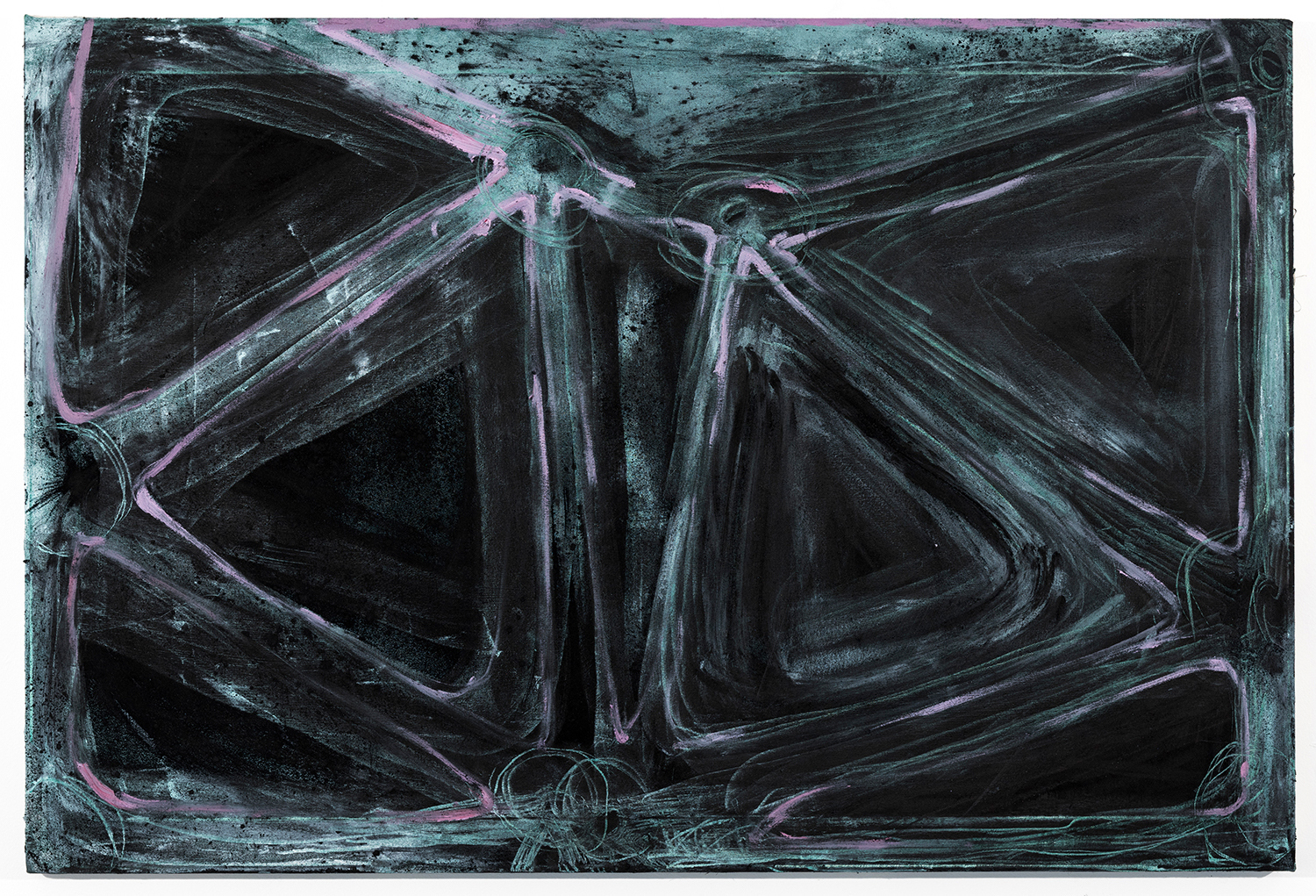 """Armature/Ligature   Oil and charcoal on canvas 34"""" x 50"""" 2016"""
