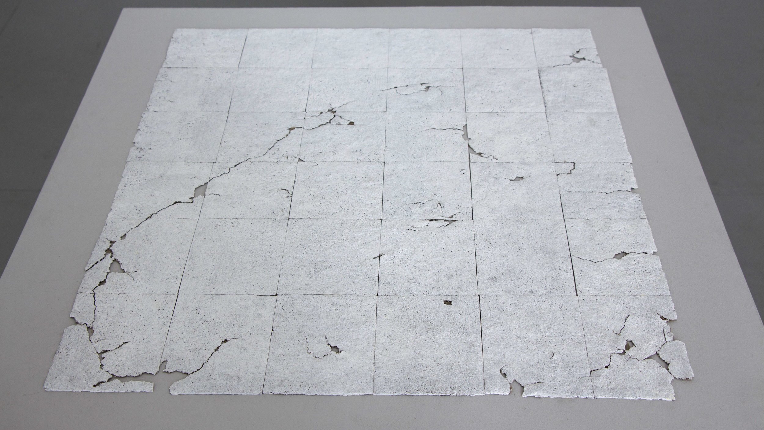 "Forgotten Grid   Acrylic medium and gesso on plywood base 33"" x 33"" 2018"
