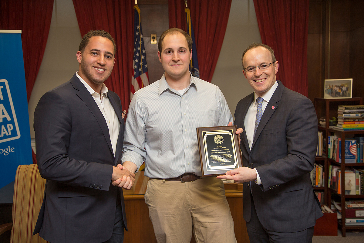 Adam Shelepak - Adam Shelepak '17 was the 2017 winner of the Cornell University Relations Campus-Community Leadership Award.Among his many off-campus activities, Shelepak has served as chair of the Cornell Student United Way Campaign, which raises $30,000 annually for nonprofit organizations across Tompkins County. He has also volunteered at the Tompkins County Public Library, distributed information about lead exposure from paint in at-risk Ithaca-area neighborhoods and served as co-director of Anabel's Grocery.For more on Adam's achievement click here.