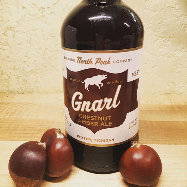 Gnarl by North Peak Brewing Company. The newest chestnut beer made with local Michigan-grown chestnuts!
