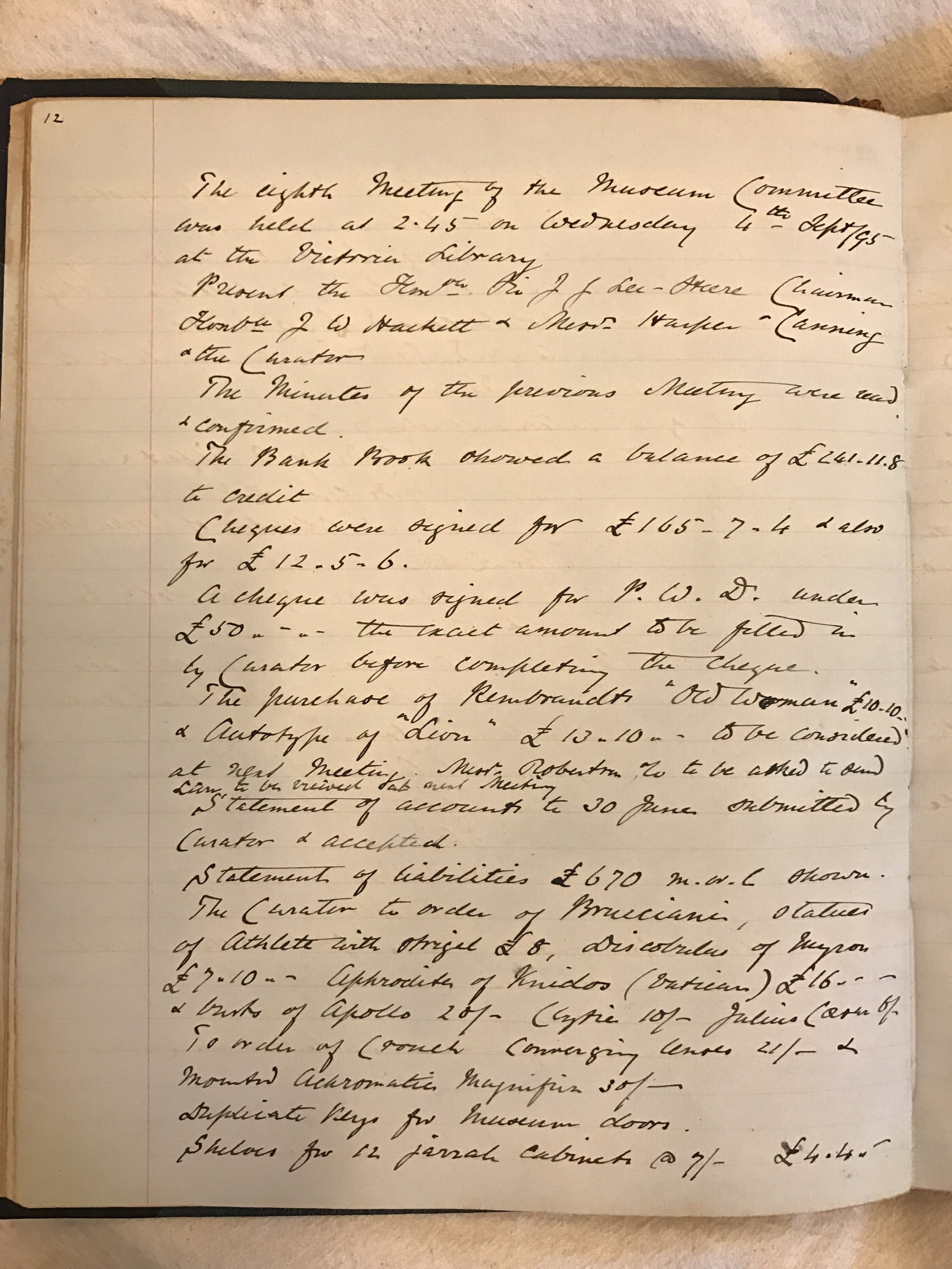 Minute Book of the Committee of Management, W.A. Museum, 11/4/1895 – 7/3/1910. Cons No: 1035 1,  State Records Office (page 12) with detailed record of expenditure down to the shelves for the 12 jarrah cabinets.