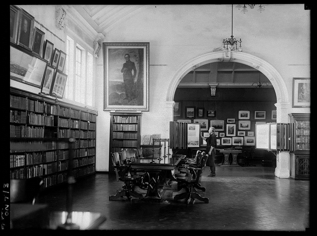 The Mitchell Library Reading Room, with the Picture Gallery in the background, 1923. Digital image from Glass Photo-Negative, FL1016826, Collection ON 7, State Library of New South Wales  http://archival.sl.nsw.gov.au/Details/archive/110321310 .