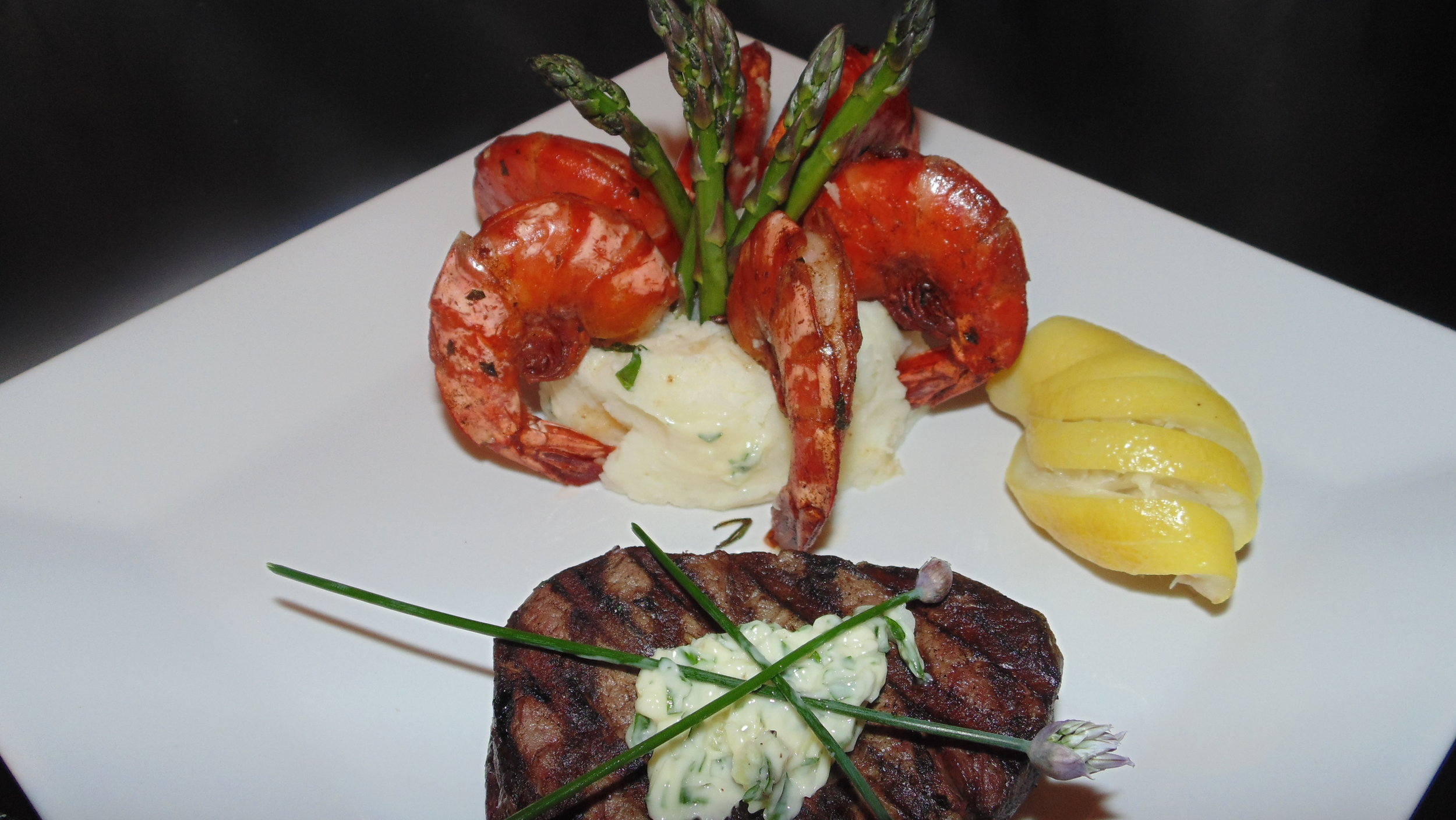 Surf & Turf - Tenderloin Steak and Shrimp in a Creamy Lemon-Garlic Sauce