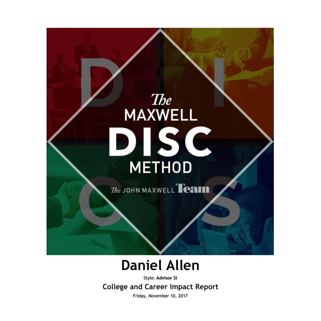 The Maxwell Method College and Career Impact Report is geared toward helping youth and young adults identify their natural strengths and what motivates them so they can make confident decisions when mapping out their future career or business path.