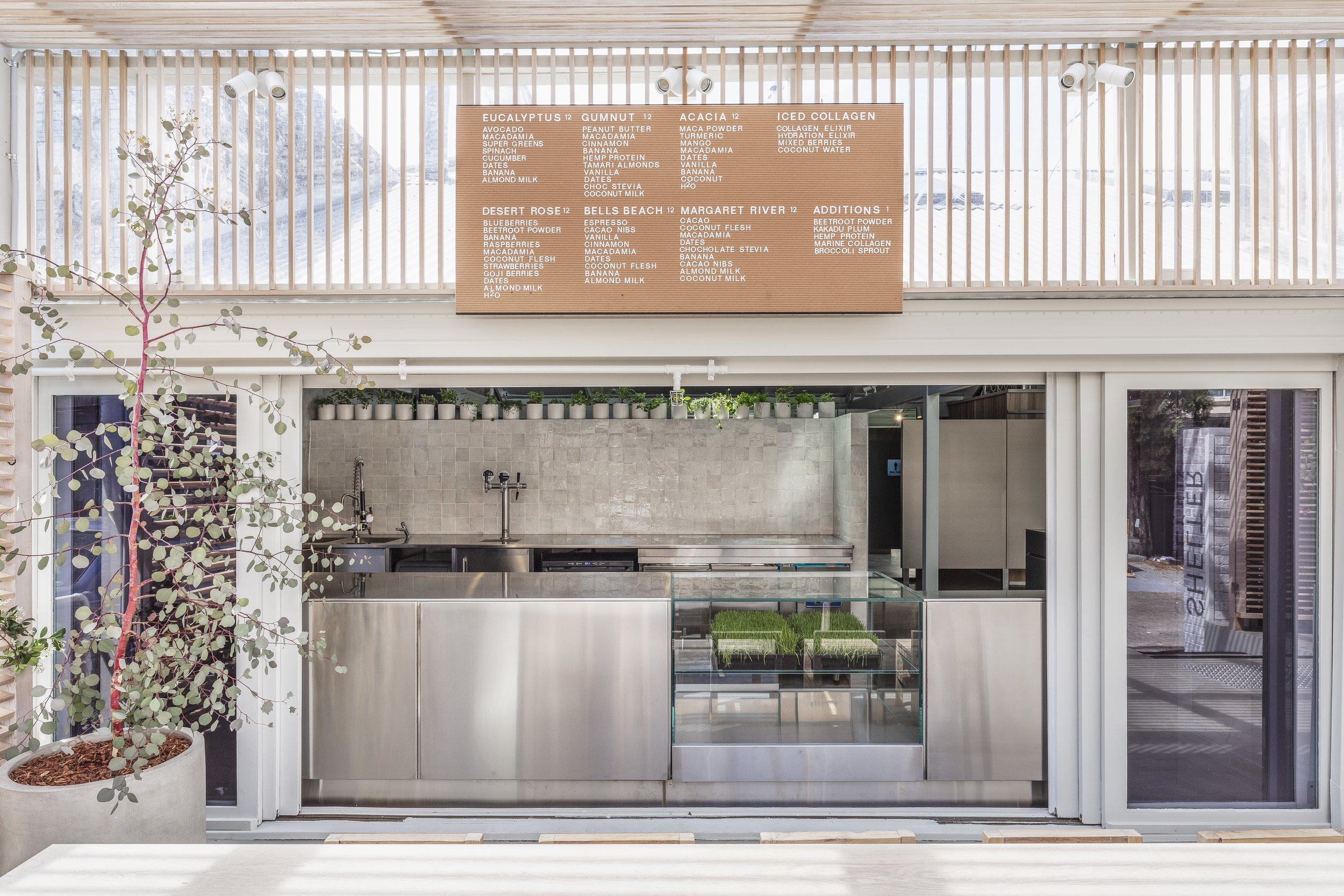 The Juicery - an in-house smoothie bar at  Shelter  in Sydney's Double Bay.