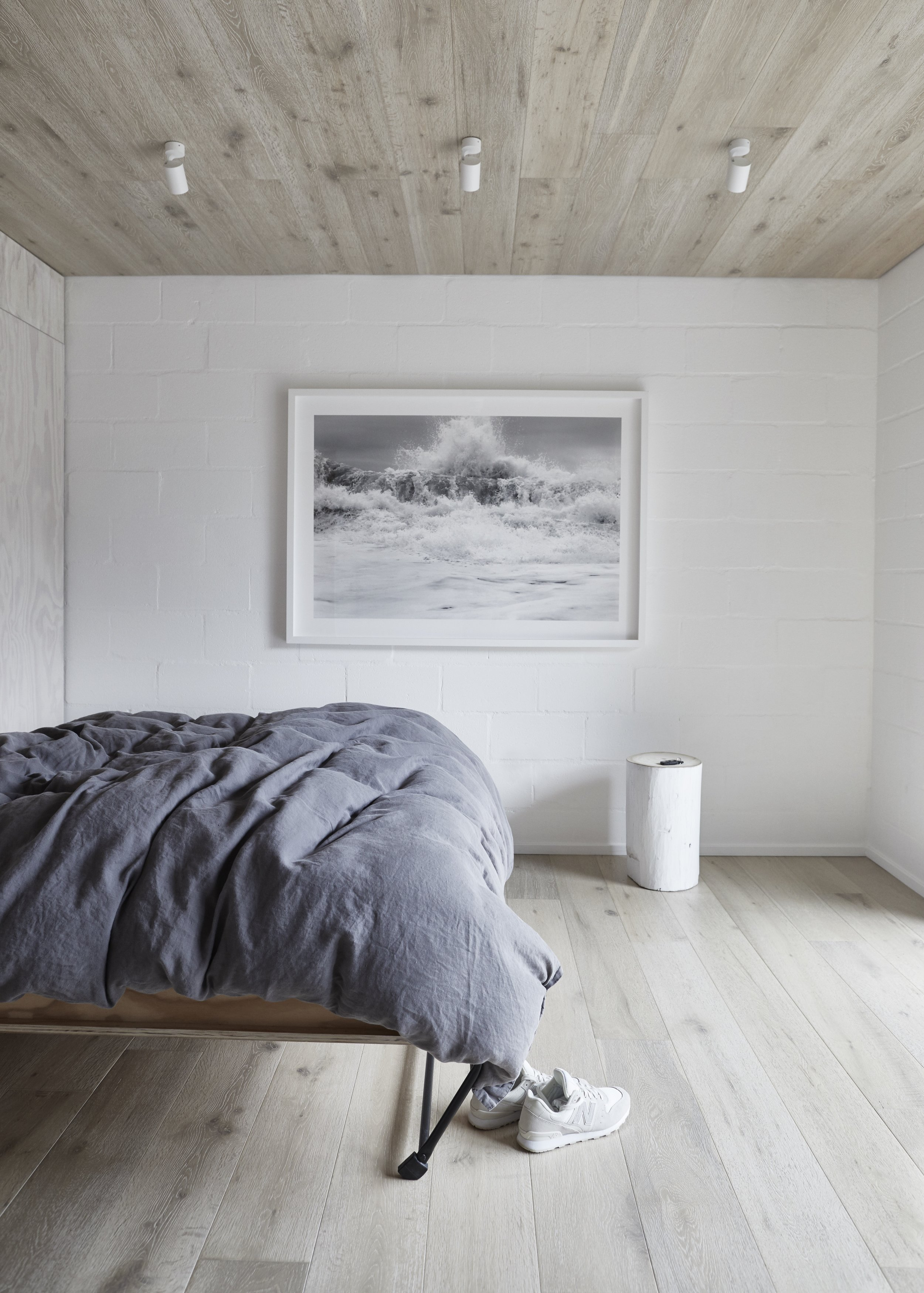 The clean and simple bedroom space. Photo - Monique Easton.