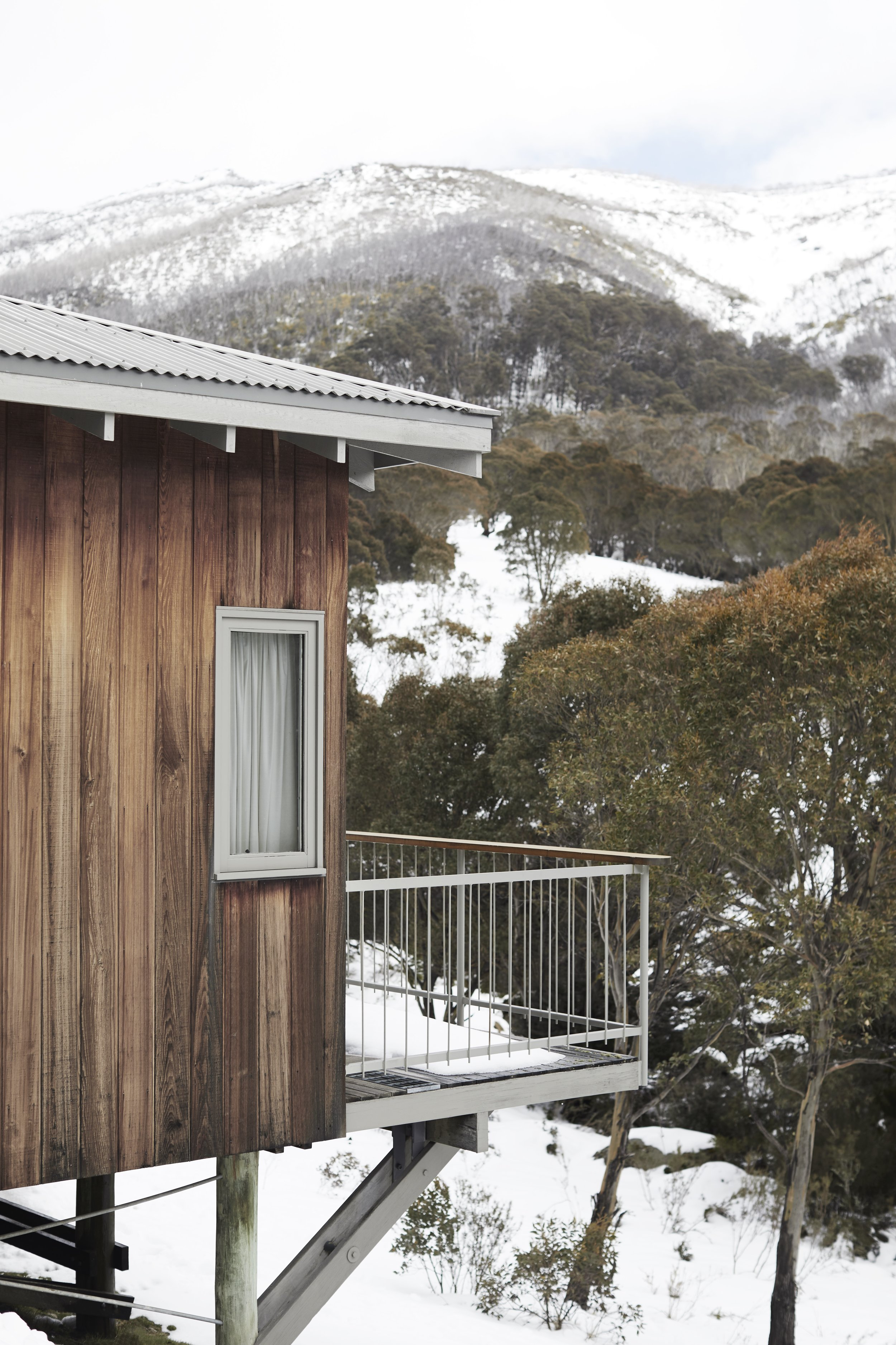 The cabin exterior and magical view out to Mount Kosciuszko at  The Eastern  at Thredbo Village. Photo - Monique Easton.